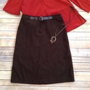 The Limited chocolate brown belted skirt
